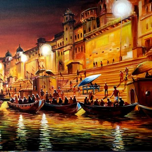 Varanasi Ghats at Night by Samiran Sarkar, Impressionism Painting, Acrylic on Canvas, Brown color