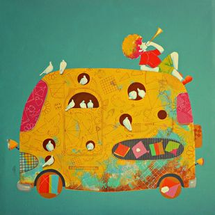 Treasure of the childhood xxi by shiv kumar soni, Expressionism Painting, Acrylic on Canvas, Green color