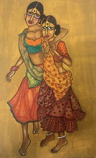 friendship by Parul Aggarwal, Expressionism Painting, Watercolor and charcoal on paper, Brown color