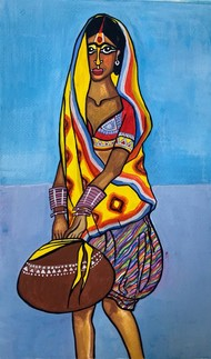 Panghat aur Matki by Parul Aggarwal, Expressionism Painting, Watercolor and charcoal on paper, Blue color