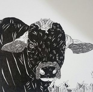 Bull by Ramakrishna Vasanthula, Illustration Drawing, Pen on Canvas, Gray color