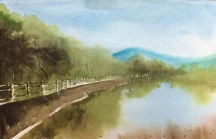 Untitled by Dipankar Biswas, Impressionism Painting, Watercolor on Paper, Cyan color