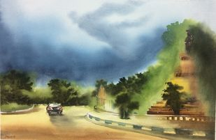 Untitled by Dipankar Biswas, Impressionism Painting, Watercolor on Paper, Green color