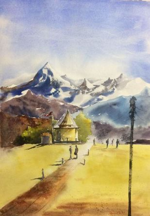 Untitled by Dipankar Biswas, Impressionism Painting, Watercolor on Paper, Beige color