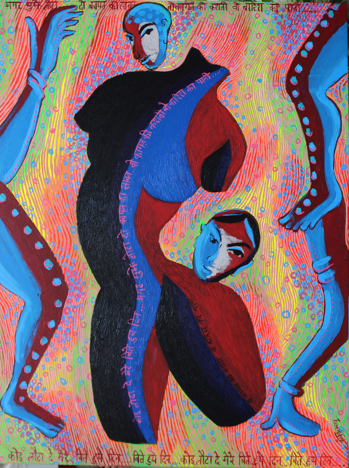 Koi Lotta de mere beete hue din by Kanchan Chander, Expressionism Painting, Acrylic on Canvas, Brown color