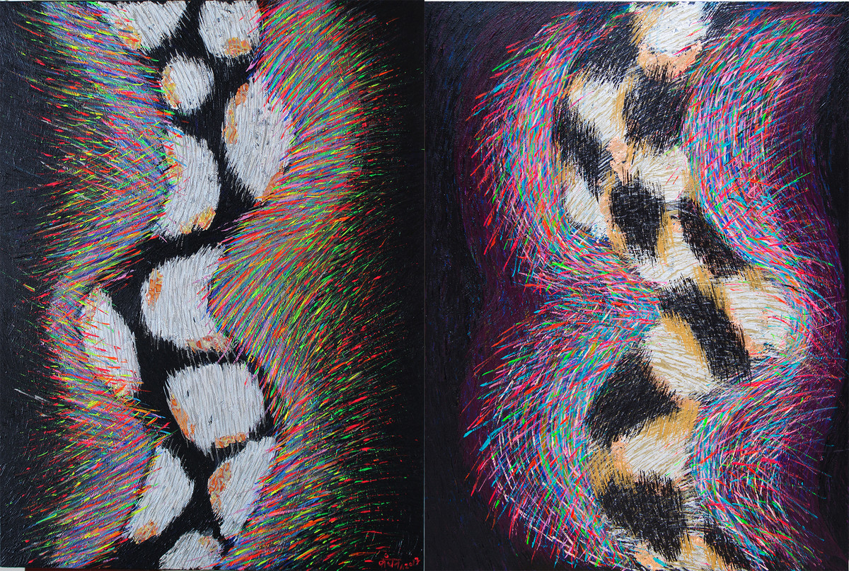 Whispering Torso 1 & 2 (Diptych) by Kanchan Chander, Abstract Painting, Acrylic on Canvas, Brown color