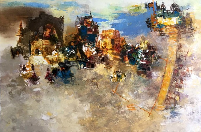 Banaras 2-2019 by Anand Narain, Abstract Painting, Oil on Canvas, Brown color