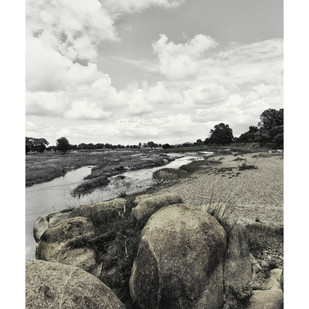 smoking boulders by Charles Tirkey, Image Photography, Giclee Print on Hahnemuhle Paper, Gray color