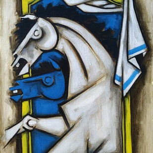The Horse 2 by Balbir Singh, Expressionism Painting, Acrylic on Board, Green color