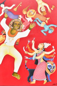 Durga by Nitai Das, Expressionism Painting, Acrylic on Canvas, Pink color
