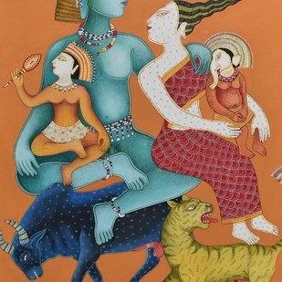 Shiva And Parvati by Nitai Das, Expressionism Painting, Acrylic on Canvas, Brown color