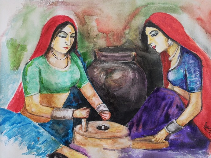 Women on work by NARENDRA NIGAM, Expressionism Painting, Acrylic & Ink on Canvas, Brown color