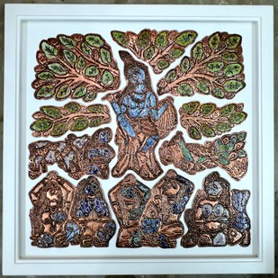 KRISHNA WITH GOPIKAS by Karoonamoorthy.N, Art Deco Sculpture | 3D, Vitreous Enamels on Metal, Brown color