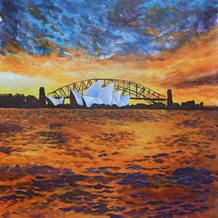 Opera House, Sydney by Herendra Swarup , Expressionism Painting, Acrylic on Canvas, Brown color