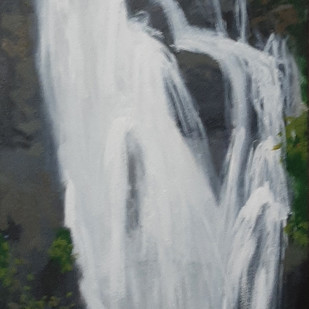 Waterfall by Tejal Bhagat, Expressionism Painting, Acrylic on Canvas, Gray color