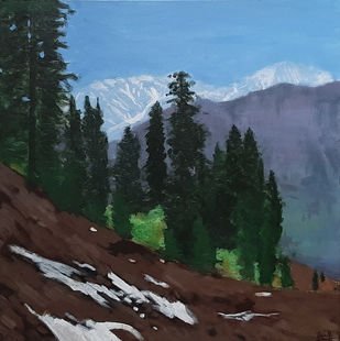 Himachal Mountains by Tejal Bhagat, Expressionism Painting, Acrylic on Canvas, Green color