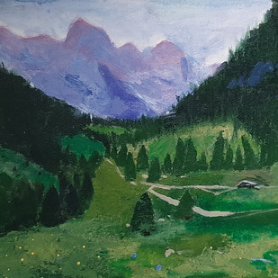 Himachal Greens by Tejal Bhagat, Expressionism Painting, Acrylic on Canvas, Green color