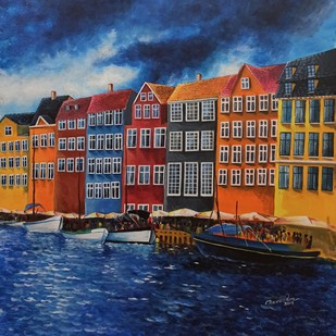 Bryggen, Norway by Herendra Swarup , Expressionism Painting, Acrylic on Canvas, Blue color