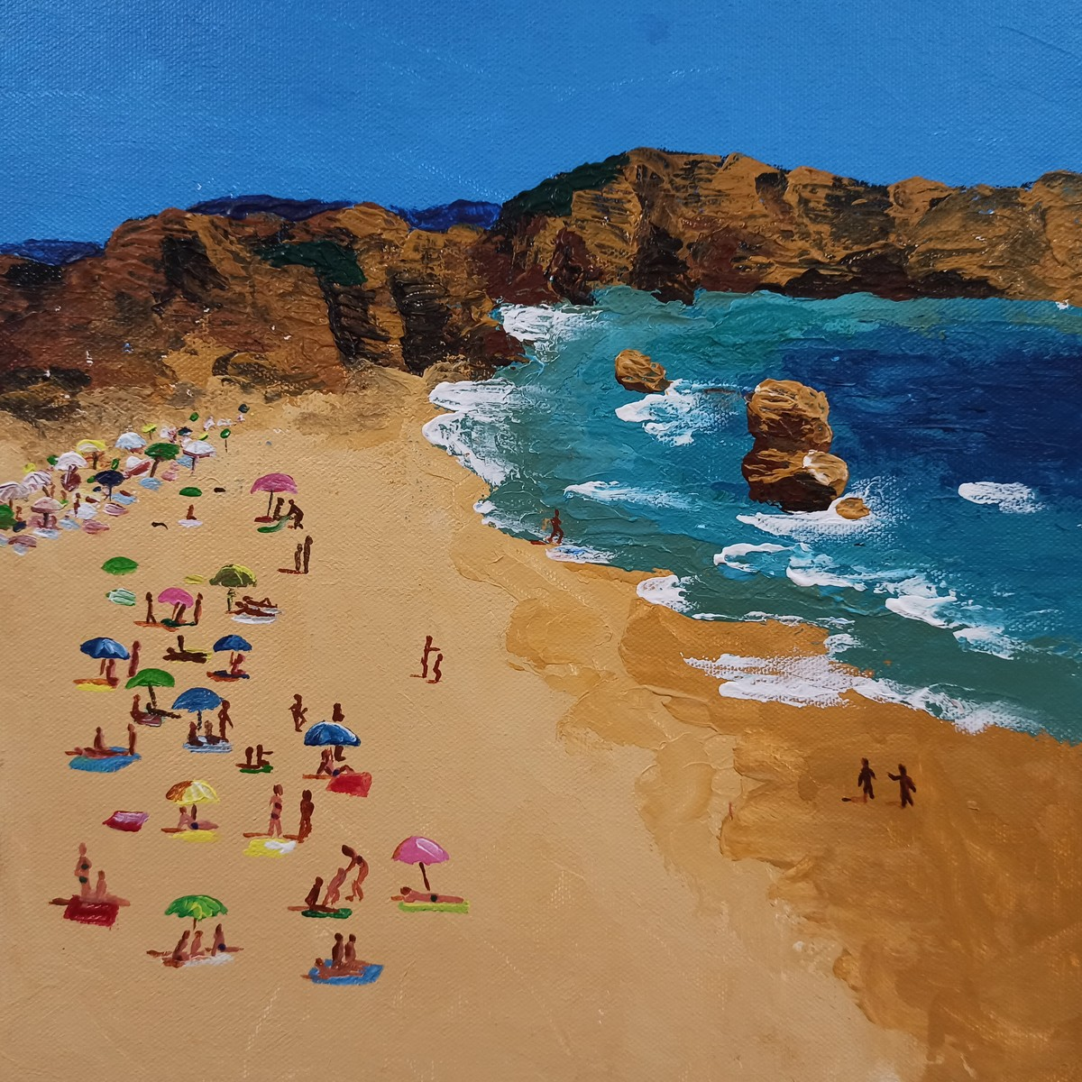 The Beach -1 by Herendra Swarup , Photorealism Painting, Acrylic on Canvas, Brown color