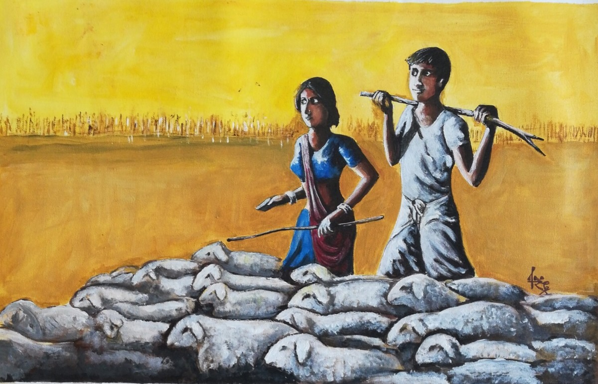 Shepherd couple by NARENDRA NIGAM, Expressionism Painting, Acrylic & Ink on Canvas, Brown color