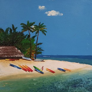 The Beach - 2 by Herendra Swarup , Expressionism Painting, Acrylic on Canvas, Cyan color