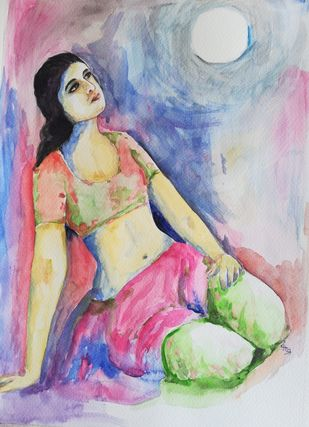 Lady in moonlight by NARENDRA NIGAM, Impressionism Painting, Watercolor and charcoal on paper, Pink color