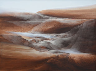 Untitled by Vinod Sharma, Abstract Painting, Oil on Canvas, Brown color