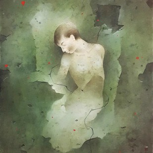 Untitled by Mintu Naiya, Impressionism Painting, Watercolor Wash on Paper, Green color