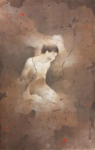 "Untitled, Wash on Board, Green, Red Colours by Contemporary Artist ""In Stock"" by Mintu Naiya, Impressionism Painting, Watercolor Wash on Paper, Brown color"