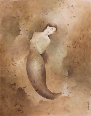 "Mermaid, Wash on Board, Brown Colours by Contemporary Artist ""In Stock"" by Mintu Naiya, Fantasy Painting, Watercolor Wash on Paper, Brown color"