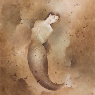 """Mermaid, Wash on Board, Brown Colours by Contemporary Artist """"In Stock"""" by Mintu Naiya, Fantasy Painting, Watercolor Wash on Paper, Brown color"""
