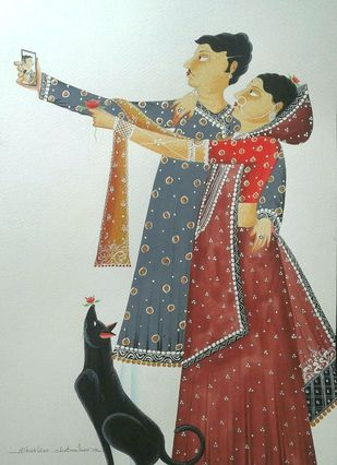 Babu-Bibi taking a 'selfie' by Bhaskar Chitrakar, Folk Painting, Natural colours on paper, Gray color