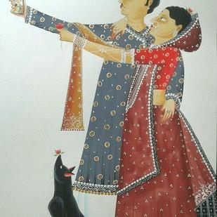 Babu-Bibi taking a 'selfie' by Bhaskar Chitrakar, Folk Painting, Natural colours on paper, Gray color