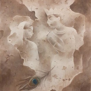 Krishna by Mintu Naiya, Impressionism Painting, Watercolor Wash on Paper, Brown color
