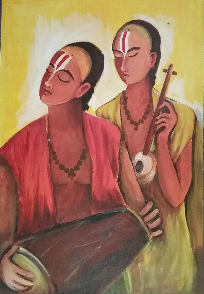 Sankirtan Digital Print by NARENDRA NIGAM,Expressionism