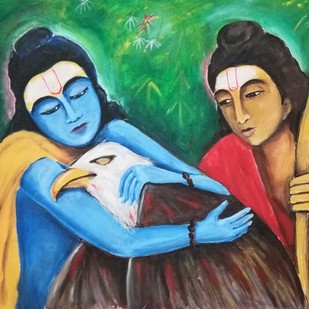 जटायु उद्धार by NARENDRA NIGAM, Expressionism Painting, Acrylic & Graphite on Canvas, Green color