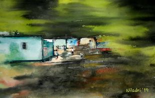 slice of life by Niladri Ghosh, Impressionism Painting, Watercolor on Paper, Green color