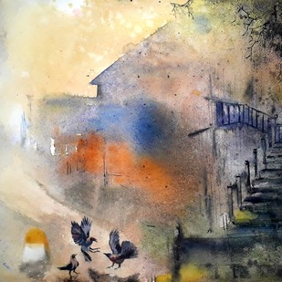 The last day of our life by Niladri Ghosh, Impressionism Painting, Watercolor on Paper, Beige color