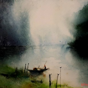 Weather Change by Niladri Ghosh, Impressionism Painting, Watercolor on Paper, Beige color