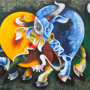 Bull and cow by Uttam Manna, Expressionism Painting, Acrylic on Canvas, Green color