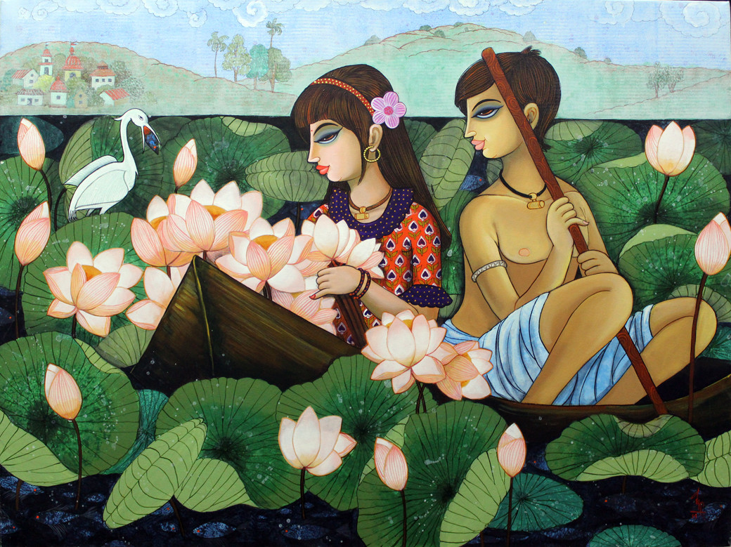 lotus lake by Varsha Kharatmal, Expressionism Painting, Acrylic on Canvas, Green color