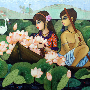 lotus lake by Varsha Kharatmal, Expressionism Painting, Acrylic on Canvas, Green color