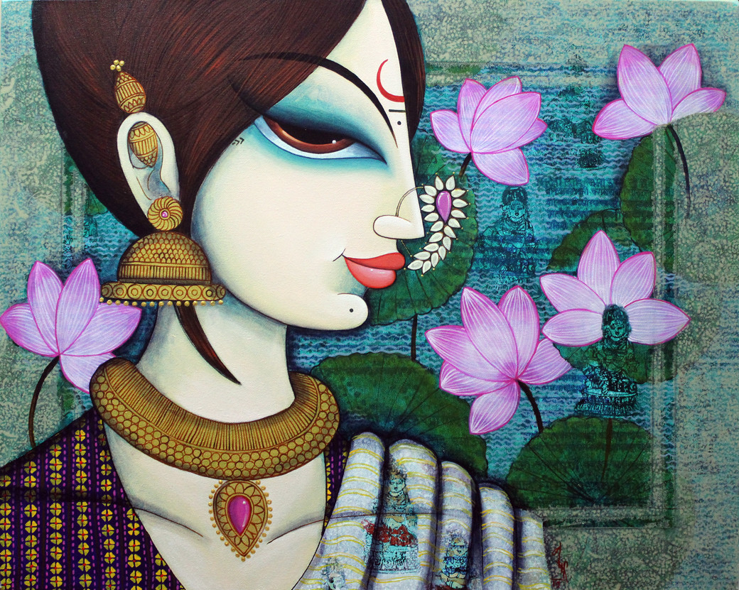 beauty with lotus by Varsha Kharatmal, Expressionism Painting, Acrylic on Canvas, Green color