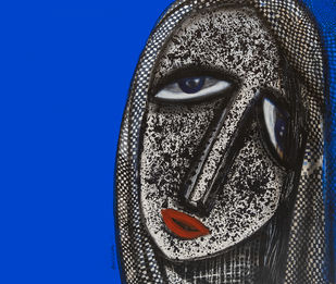 face by Arun K Mishra, Expressionism Painting, Acrylic on Canvas, Blue color