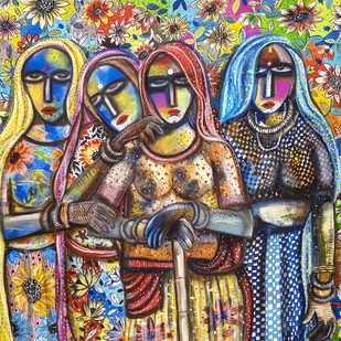 women by Arun K Mishra, Expressionism Painting, Acrylic on Canvas, Brown color
