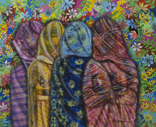 women in veil by Arun K Mishra, Expressionism Painting, Acrylic on Canvas, Brown color