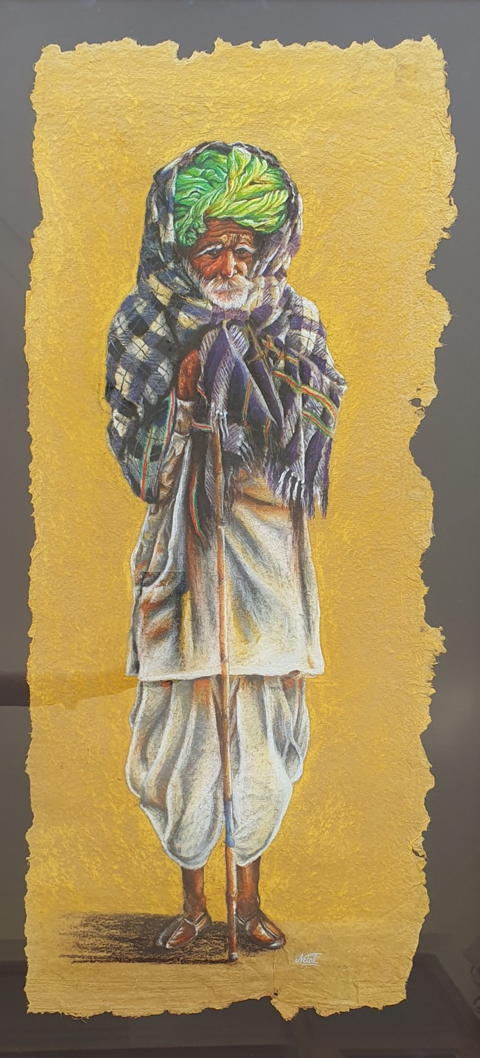 Rural Life by Netal Rathore, Impressionism Painting, Dry Pastel on Paper, Beige color