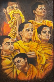 Pandits by Netal Rathore, Expressionism Painting, Dry Pastel on Paper, Brown color