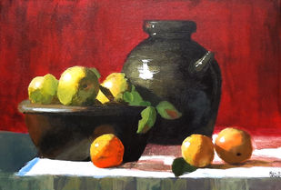 Still Life by Tejal Bhagat, Expressionism Painting, Acrylic on Canvas, Brown color