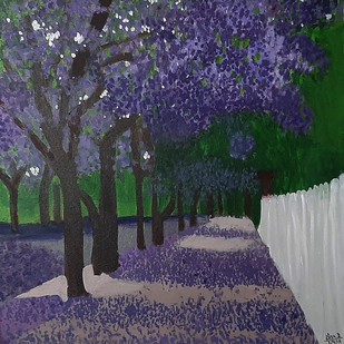 Purple Maple by Tejal Bhagat, Expressionism Painting, Acrylic on Canvas, Blue color